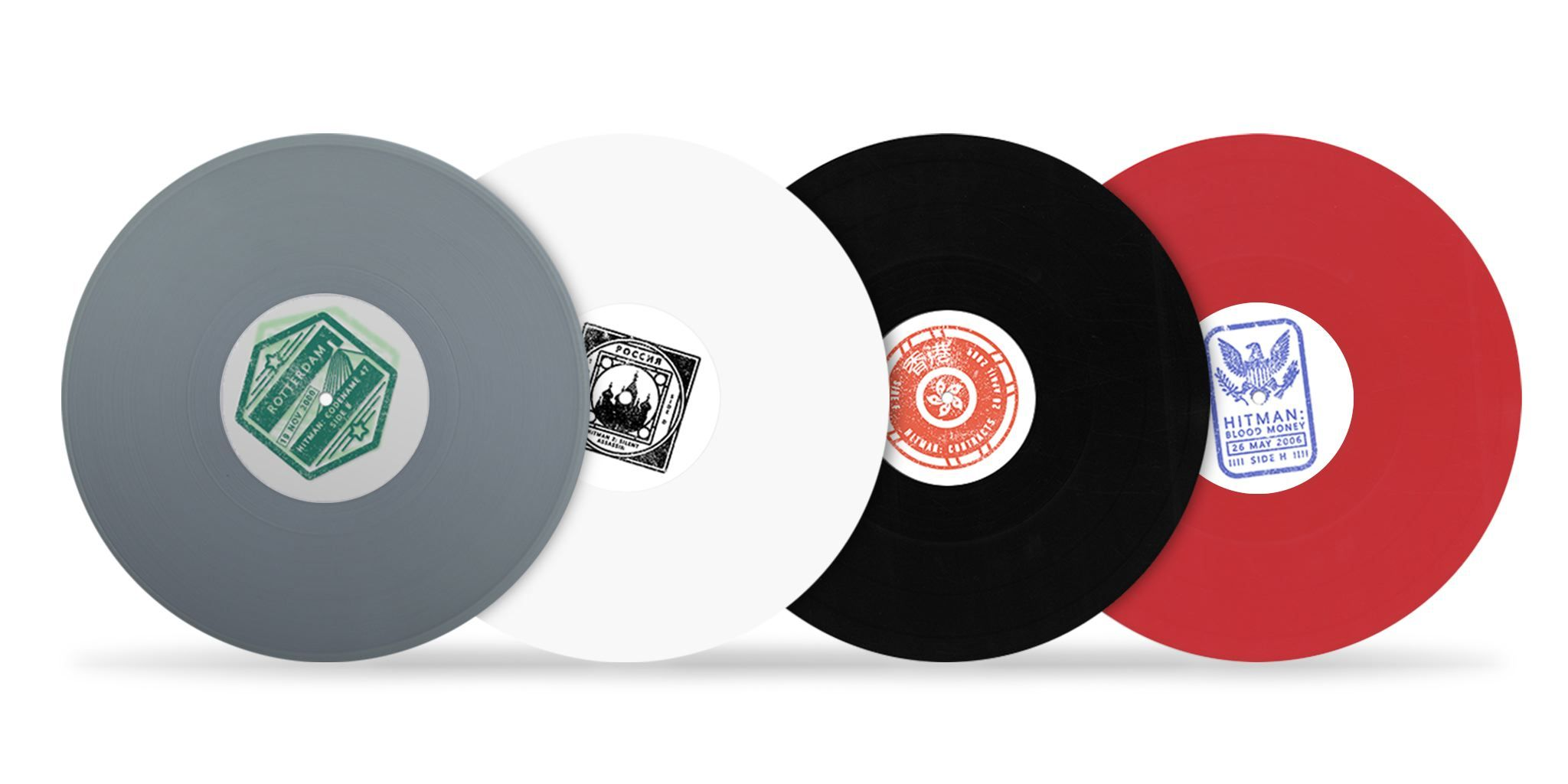 Each Hitman soundtrack receives a different colored LP.